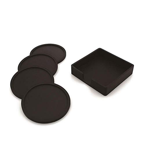 1 Square Cup Holder 4 Round Coasters Set Teacup Thicken Silicone Cushion (Color - Black) ()