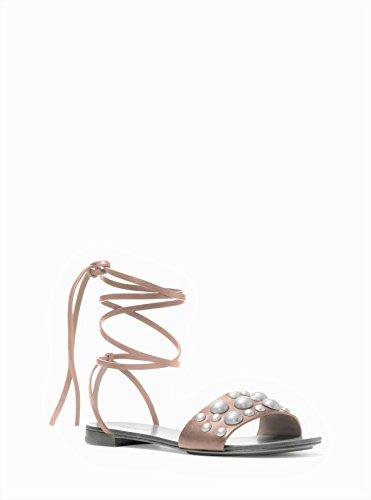 (Michael Kors Women's Mica Studded Leather Gladiator Sandal Elephant 7.5)