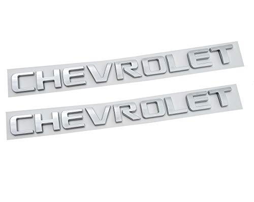 Yuauto 2X Chevrolet Nameplate Letter Emblem Badge Glossy Replacement for Chevrolet Gm 2500HD 3500HD Silverado Sierra (Chrome)