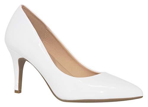 (MVE Shoes Women's Pointed Toe Low Kitten Heel Pumps - Dress Slip On Pumps Shoes - Stiletto Wedding Pumps, Coen White PAT 9)