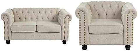 Morden Fort Couches for Living Room, Sofas for Living Room Furniture Sets, Chair and Loveseat 2 Pieces, Fabric, Linen Beige