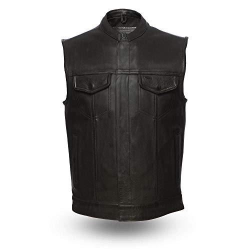 First Mfg Co Platinum Series Men's Leather Vest (Black, 2X-Large) ()
