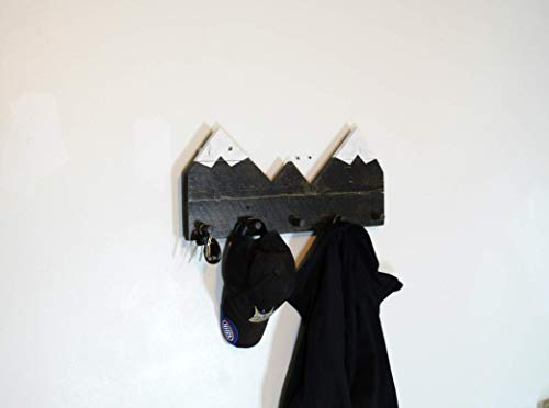 Snow capped mountain shaped coat rack, alpine scenic view hat organizer, rocky mountain functional art, entryway rustic decor, ebony stained