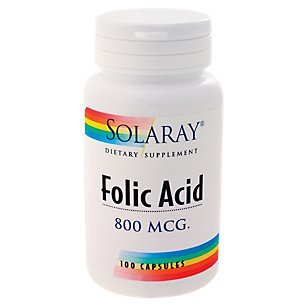 Solaray - Folic Acid, 800 mg, 100 capsules