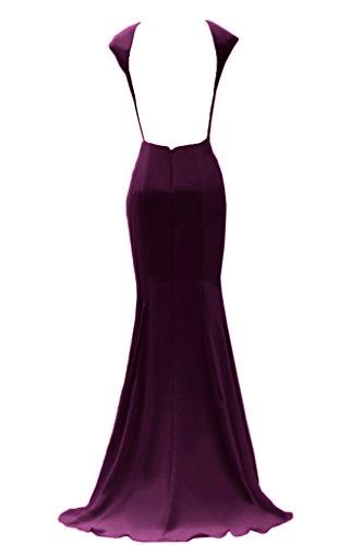 Abendkleider Promkleid Rueckenfrei Ivydressing Lang Chiffon Rundkragen Schlitz Traube Festkleid Damen gwq68H