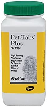Pet-Tabs Plus High Potency Supplement for Dogs Vitamins Minerals 60 Tablets