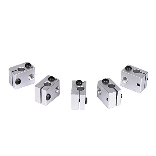 KINGPRINT Aluminum Heat Block for 3D V6 J Head 3D Printer Specialized for MK7 MK8 3D Printer Extruder (Pack of 5pcs)