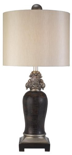 OK LIGHTING 34 in. Antique Brass Sobek Table Lamp by OK LIGHTING
