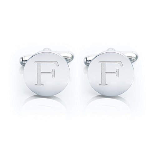 Personalized Silver Cufflinks (Men's 18K White Gold-Plated Engraved Initial Cufflinks with Gift Box– Premium Quality Personalized Alphabet Letter (F - White Gold))