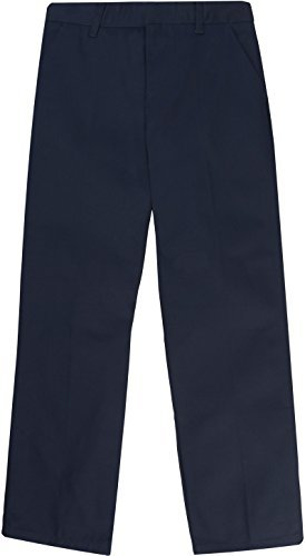 French Toast School Uniform Boys Adjustable Waist Flat Front Workwear Finish Double Knee Pants, Navy, 4 Slim by French Toast