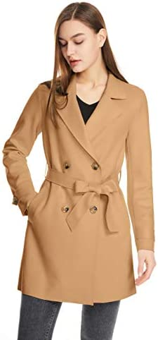 WOMEN MIDI LENGTH DOUBLE BREASTED CASUAL JACKET WITH BELT FAUX SUEDE TRENCH COAT