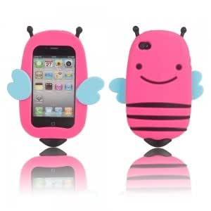Bee Style Silicone Protective Case for iPhone 4/4S Rose Red