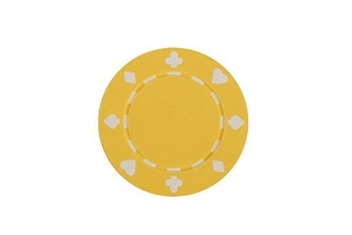 (CHH 2702H-YLW 50 Piece Suited Clay Composite Poker Playing Chips, Yellow and White)