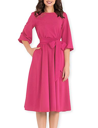 AOOKSMERY Women Elegance Audrey Hepburn Style Round Neck 3/4 Puff Sleeve Puffy Swing Midi Dress with Belt (Fuchsia, (Puff Sleeve Womens Dress)
