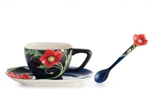 Franz Porcelain The Serenity Poppy Flower Design Sculptured Porcelain Cup/Saucer Set with Spoon