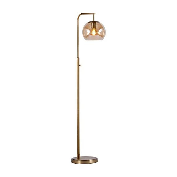 "Rivet Hudson Mid-Century Brass Floor Lamp with Bulb, Tinted Glass Globe, 58.5""H -  - lamps, bedroom-decor, bedroom - 31w G9m7JhL. SS570  -"