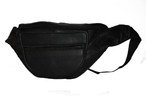 Leatherboss Designer Fanny Pack - - Black Designer