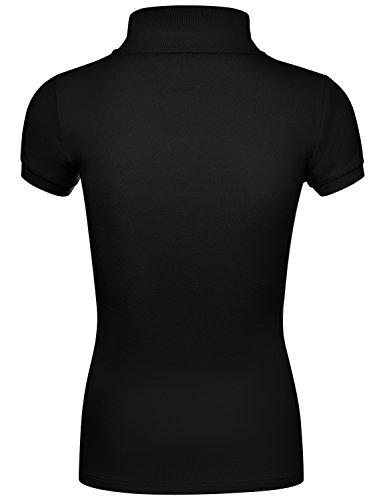 Basic Jersey Short Sleeve CVC Pique Polo Shirts Black Large by HATOPANTS (Image #2)