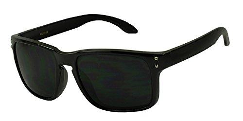 Super Dark Black Designer Inspired Square Horn Frame Sunglasses