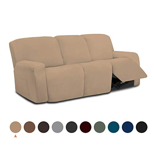Easy-Going 8 Pieces Microfiber Stretch Sectional Recliner Sofa Slipcover Soft Fitted Fleece 3 Seats Couch Cover, Washable Furniture Protector with Elasticity for Kids,Pet (Recliner Sofa,Camel