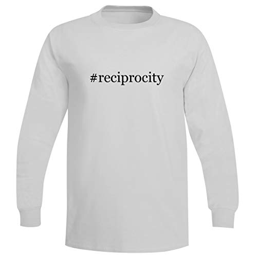 The Town Butler #Reciprocity - A Soft & Comfortable Hashtag Men's Long Sleeve T-Shirt, White, Small