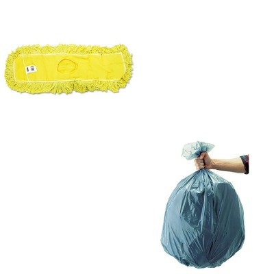 KITRCP501188GRARCPJ15300YEL - Value Kit - Rubbermaid-Dust Mop, Trapper, Looped, 24X5 (RCPJ15300YEL) and Rubbermaid 5011-88 Tuffmade Polyliner Low-Density Can Liners, 55 Gallons (Rubbermaid Trapper)