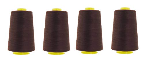 Mandala Crafts All Purpose Sewing Thread from Polyester for Serger, Overlock, Quilting, Sewing Machine (4 Cones 6000 Yards Each, Dark Brown)