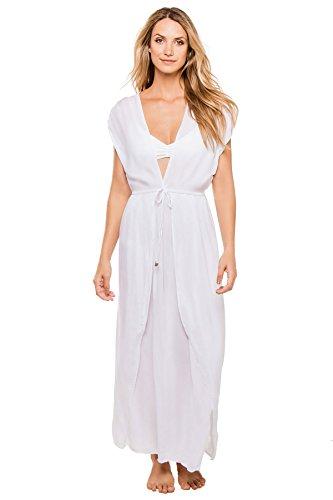 Elan Maxi Cover-Up, L, White (Elan Swimwear)