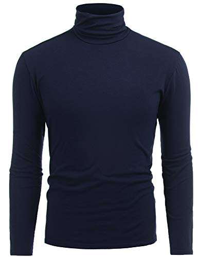FISOUL Mens Slim Fit Soft Pullover Light Turtleneck Navy Blue S