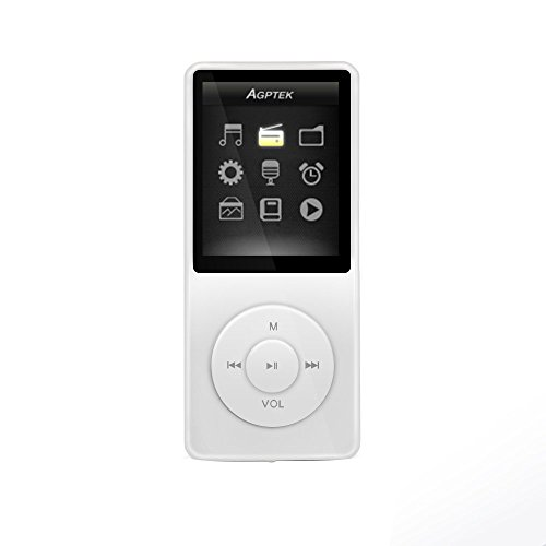 AGPTEK A02 8GB MP3 Player supports upto 32GB, Bright-White