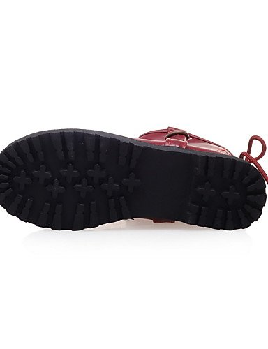 Gray Semicuero Red Punta us8 Mujer Eu39 Uk5 Cn38 Cn3 us7 Botas Plataforma Cn39 A Xzz Eu38 Moda Casual La 5 Uk6 Vestido Anfibias Zapatos 5 Redonda De nYwZRqZ6O