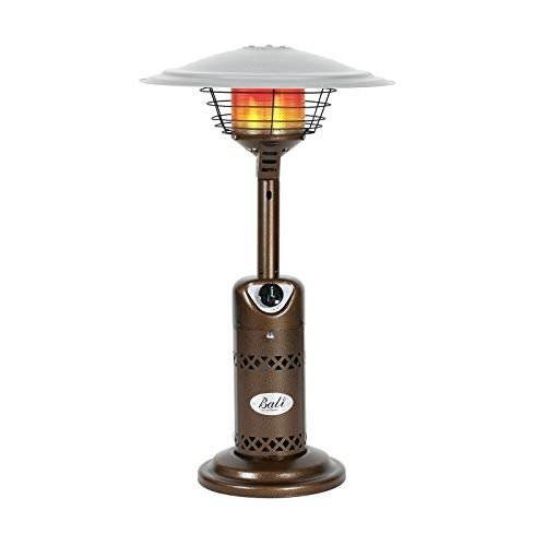 BALI OUTDOORS Patio Heater, Portable Tabletop Heater, Propane Patio Heater, 10,000 BTU with Adjustable Thermostat, Bronze, Use 1lb or 20Lb Propane Tank, Suitable for yard, commercial restaurant, gazeb