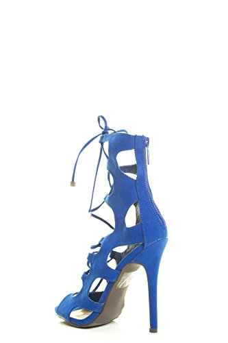 Breckelles Kvinna Peep Toe Snörning Gladiator Bur Klippa Ut Stilett Häl Pump Sandal 7.5 Blå