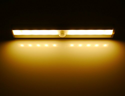 Hotenda Wireless Motion Sensing Closet Cabinet LED Night Light/Stairs Light/Step Light Bar with Magnetic Strip DIY Stick-on Anywhere Portable (Battery Operated) - Silver (Soft white) Silver Leaf Chips