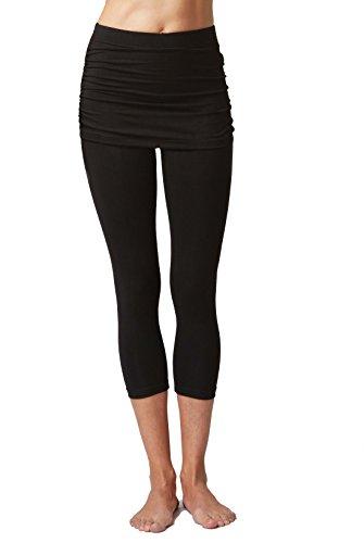 - TLC Sport Tights Legging with Gathered Over Skirt Capri Yoga Pants Cropped Leggings Black -L-
