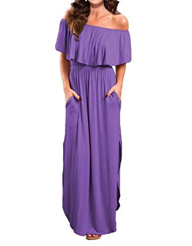 VERABENDI Women's Off Shoulder Summer Casual Long Ruffle Beach Maxi Dress with Pockets (X-Small, Ultra Violet)