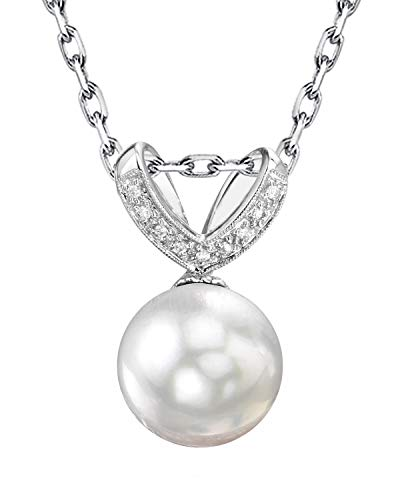 - THE PEARL SOURCE 14K Gold 11-12mm Round White South Sea Cultured Pearl & Diamond Belissima Pendant Necklace for Women