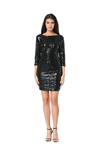 TowerTree Women's Sparkle Glitter Sequin 3/4 Sleeve Bodycon Club Party Dress, Black, ()