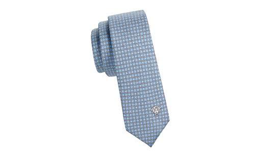 Blue Italian Tie - Gianni Versace Men's Gianni Printed Italian Silk Tie, OS, Light Blue
