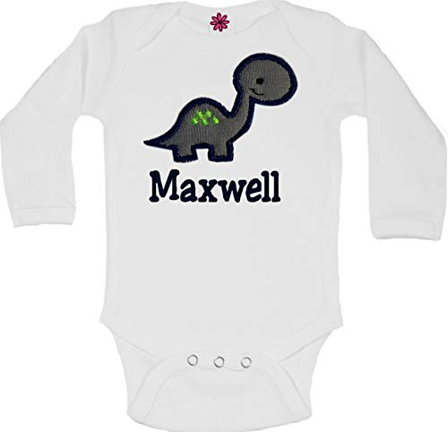 Personalized Embroidered Baby Boy Dinosaur Bodysuit with Matching Cotton Beanie Hat - Your Custom Name (White Set)]()