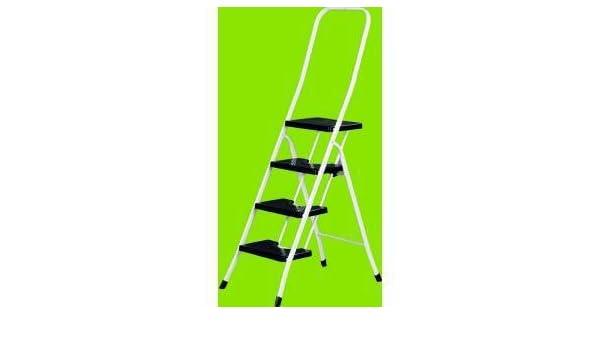 Vervi M95891 - Escalera hierro blanca con barandilla 3 peldaños negros: Amazon.es: Bricolaje y herramientas