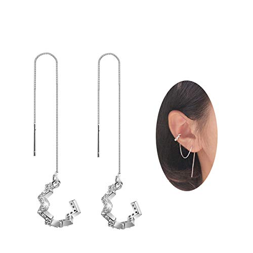 SLUYNZ 925 Sterling Silver New Arrival Wave Cuff Earrings Wrap Tassel Earrings for Women Threader Earrings Perfect Valentine's Day Gifts(silver)