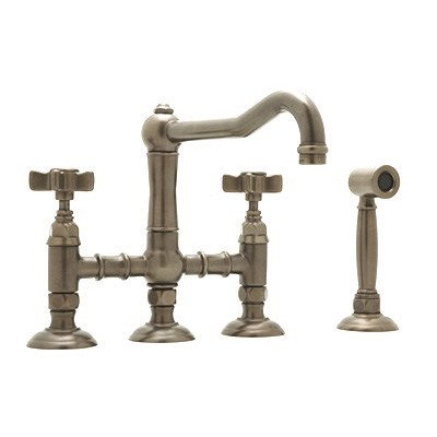 (Country Kitchen Two Handle Widespread Bridge Faucet with Cross Handles Side Spray Finish: Inca Brass, Handle Option: Metal Lever)
