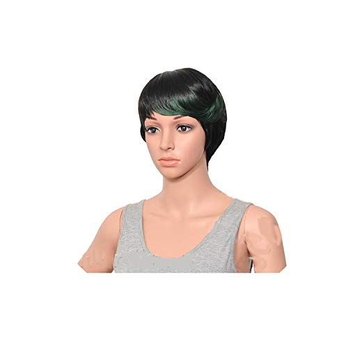 Feing Woman Synthetic Multi color Bangs Short Straight Party Hair Wig Heat Resistant 8 Colors Availableping-in Synthetic None,green black,10inches