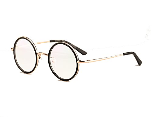 Agstum Vintage Retro Small Round Prescription Optical Eyeglass Frame 43mm (Black+Light gold, - Frames For Women Small Eyeglass