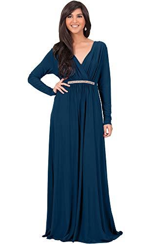 KOH KOH Womens Long Sleeve Sleeves Kaftan V-Neck Flowy Formal Wedding Guest Fall Winter Evening Day Empire Waist Abaya Muslim Gown Gowns Maxi Dress Dresses, Blue Teal L 12-14