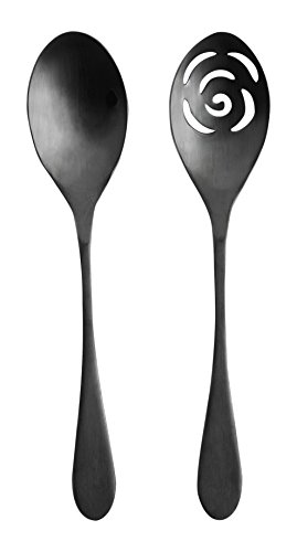 - Knork 274 Black Matte Titanium Finish Serving Spoons,