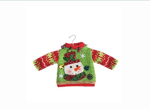 DG Shopping Spree Ugly Tacky Sweater Knitted Christmas Holiday Ornament - Snowman