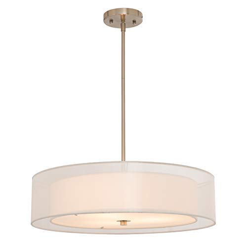 Light Pendant Three Elegance - CO-Z 3 Light Double Drum Pendant Light, Brushed Nickel Convertible Semi-Flush Mount Drum Ceiling Light Fixture for Kitchen Island Dining Table Bedroom Entry Bar, Modern Hanging Lights Chandelier