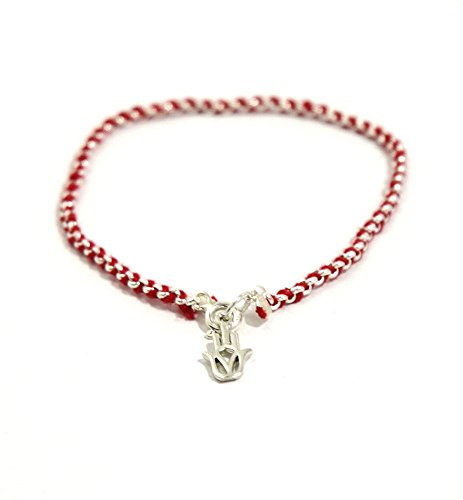 (Red Kabbalah String in Sterling Silver Bracelet Evil Eye Jewelry with Hamsa Hand for Protection )